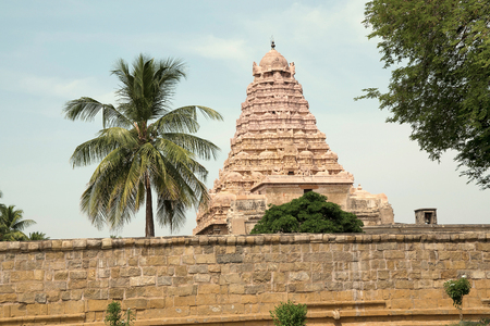 Outer wall and Gopuram, Brihadisvara Temple, Gangaikondacholapuram, Tamil Nadu, India. View from East