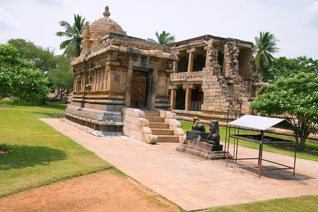 Durga or Mahishasurmardini shrine, Brihadisvara Temple complex, Gangaikondacholapuram, Tamil Nadu, India. View from East. Ruins of mandapa are also seen in the background.
