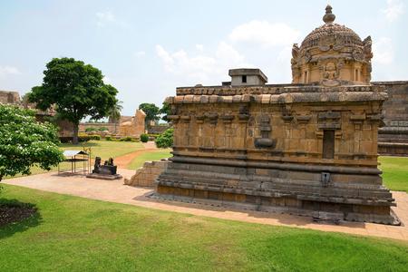 Durga or Mahishasurmardini shrine, Brihadisvara Temple complex, Gangaikondacholapuram, Tamil Nadu, India. View from North West.