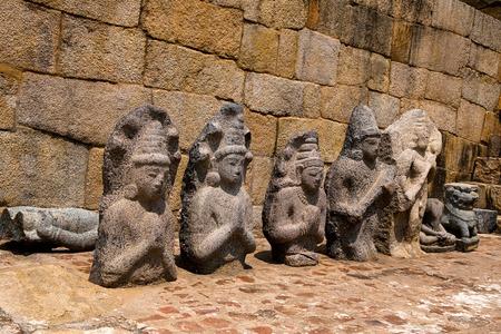 Excavated sculptures of 1oth century A.D., Brihadisvara Temple complex, Gangaikondacholapuram, Tamil Nadu India  Stock Photo