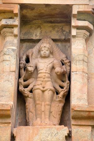 Shiva as Eight-armed Bahirava, niche on the northern wall, Brihadisvara Temple, Gangaikondacholapuram, Tamil Nadu, India.