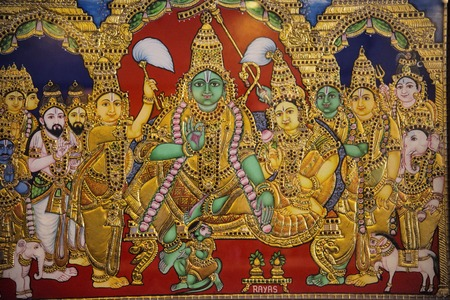 Tanjore Painting is one of the most popular forms of classical South Indian painting. Dense composition, surface richness and vibrant colors of Indian Thanjavur Paintings distinguish them from  other Stock Photo