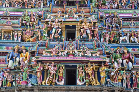 Sculptured facade of the Kapaleeshwarar Temple, Mylapore, Chennai, Tamil Nadu, India. Shiva Temple. The temple was built around the 7th century CE in Dravidian architecture