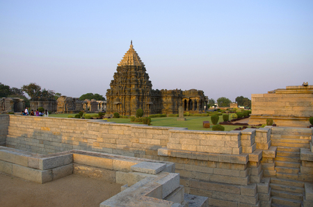 Stepped well at temple, was built circa 1112 CE by Mahadeva, a commander in the army of the Western Chalukya King Vikramaditya VI,  good example of complete Western Chalukyan art, Itagi Stock Photo