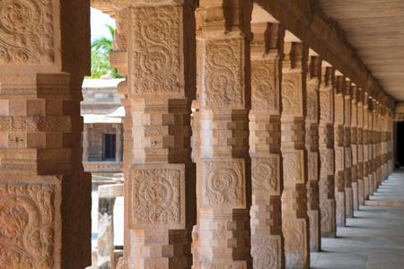 Carved pillars of the northern cloister, Airavatesvara Temple, Darasuram, Tamil Nadu, India