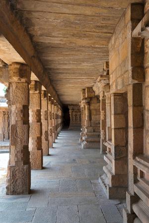 Carved pillars of the north side cloister, Airavatesvara Temple, Darasuram, Tamil Nadu, India. Stock Photo