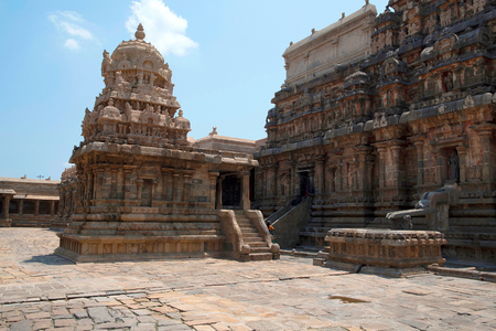 Chandikesvara Temple on the left and Airavatesvara Temple on the right, Darasuram, Tamil Nadu, India. View from North West.