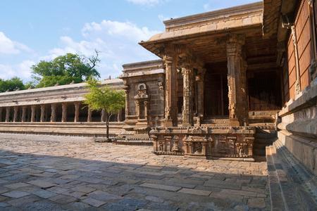Nataraja mandapa and adjoining pillar-cloister, North-east corner, Airavatesvara Temple, Darasuram, Tamil Nadu, India.