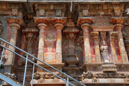 Niches and kumbhapanjaras, southern wall, Airavatesvara Temple, Darasuram, Tamil Nadu, India View from South Stock Photo