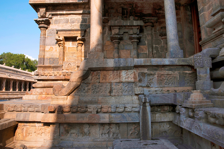 Northern entrance to the mukha-mandapa, Airavatesvara Temple, Darasuram, Tamil Nadu, India Stock Photo