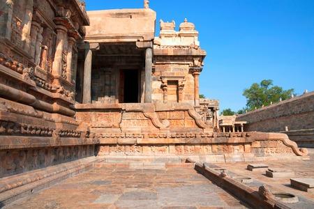 Southern wall and a portion of mukha-mandapa, Airavatesvara Temple complex, Darasuram, Tamil Nadu, India.