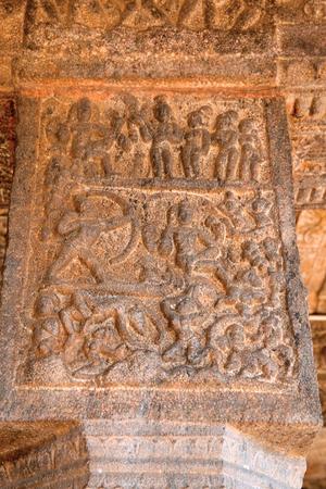 Story of Siva burning kama, Rati and other queens praying for his life, Inner pillars, agra-mandapa, Airavatesvara Temple, Darasuram, Tamil Nadu, India.