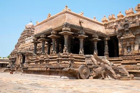 Flight of steps to agra-mandapa, Airavatesvara Temple, Darasuram, Tamil Nadu, India. View from South East.