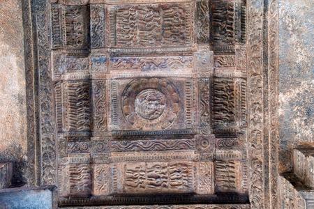 Rectangular ceiling pattern with decorative design bands, agra-mandapa, Airavatesvara Temple, Darasuram, Tamil Nadu, India. Stock Photo