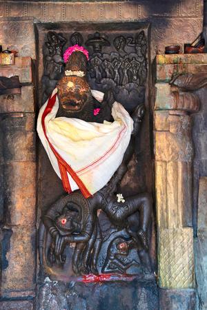 Siva as Sarabha-murti, Shrine attached to the southern wall of mandapa, Airavatesvara Temple complex, Darasuram, Tamil Nadu, India. It denotes the end of Vaishnavism.