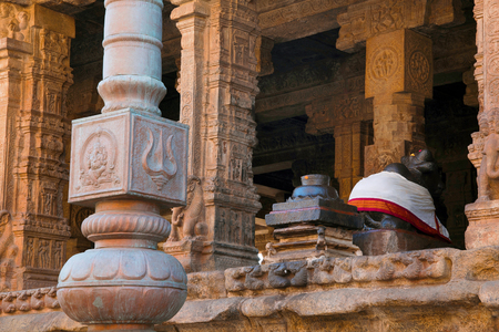Flagpost and 100 pillar Maha-mandapa, Airavatesvara Temple, Darasuram, Tamil Nadu, India. View from East