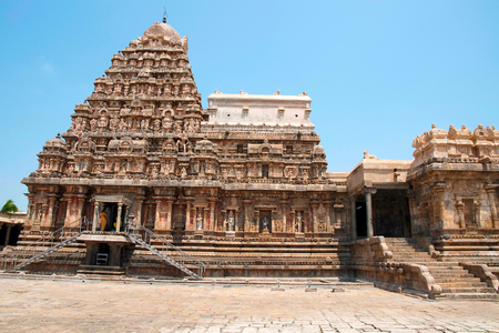 View of shrine and entrance to the mukha-mandapa on the right, Airavatesvara Temple, Darasuram, Tamil Nadu, India. View from South.