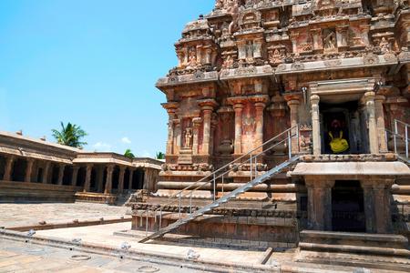 View of the north west corner, Airavatesvara Temple, Darasuram, Tamil Nadu, India