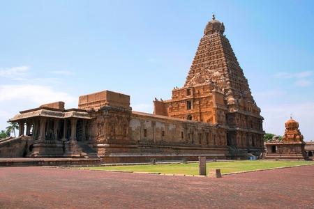 Brihadisvara Temple and Chandikesvara shrine, Tanjore, Tamil Nadu, India. View from North East.