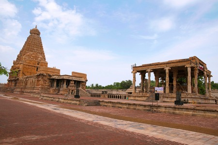 Brihadisvara Temple on the left and Nandi mandapa on the right, Tanjore, Tamil Nadu, India. View from South East.