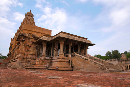 Flight of steps leading to pillared mandapa, Brihadisvara Temple, Tanjore, Tamil Nadu, India. View from South East. Stock Photo
