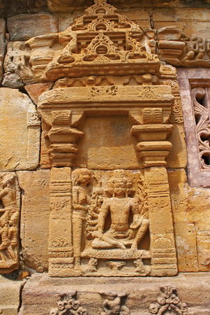 Suppanakhi or Shurpnakha approaching her brother, Ravana. A scene from Ramayana carved on the southern wall, Papanatha temple, Pattadakal temple complex, Pattadakal, Karnataka, India.