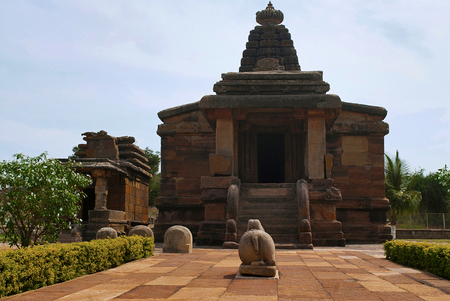 Hucchimalli Gudi, Mad Mallis temple, Aihole, Bagalkot, Karnataka, India. It is dedicated to Shiva Stock Photo