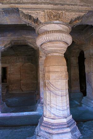 Cave 3 : Pillars in Badami Caves Karnataka India