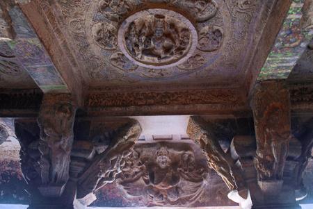 Cave 3 : Fresco paintings on the ceiling, four armed Lord Brahma. Badami Caves, Karnataka.