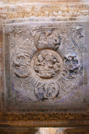 Fresco paintings on the ceiling, The wedding of Shiva and Parvati, attended by various Hindu deities. Badami Caves, Karnataka Stock Photo