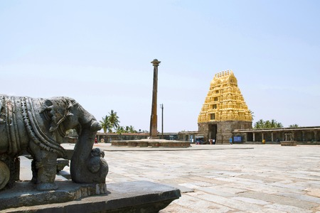 View of South East courtyard, Chennakeshava temple complex, Belur, Karnataka, India. The lamp post and East Gopuram is clearly seen.