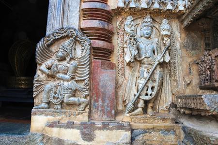 Close up of dwarapala and Garuda, on the right side of the South entrance, Chennakesava temple, Belur, Karnataka, India Stock Photo