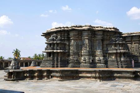 Chennakeshava temple complex, Belur, Karnataka, India. General view from the Kalyan Mandapa at South West.