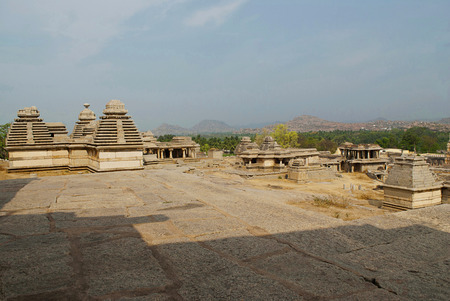 Group of temples, Hemakuta Hill, Hampi, Karnataka, India. Sacred Center. Kampilass trikutachala temple on the left is clearly seen. Stock Photo