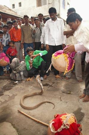 MAHARASHTRA, INDIA, July 2012, People watch show of cobra during Naga Panchami festival