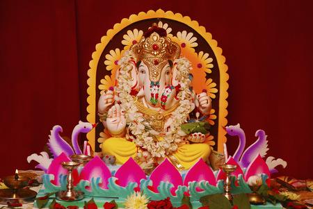 Decorated Ganapti idol during Ganapati Festival, Pune Stockfoto