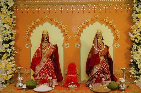 Beautifully decorated idol of goddess Gauri during Ganesh festival, Pune, Maharashtra, India