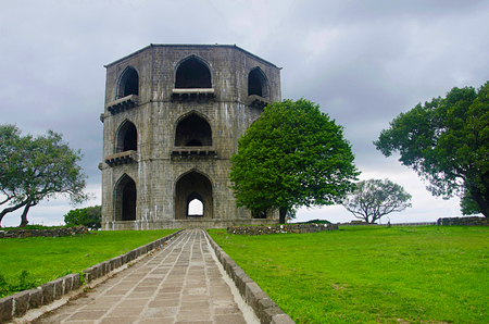 The Tomb of Salabat Khan II or Chandbiwis Mahel Three-storey stone structure, 13 km from Ahmednagar, Maharashtra