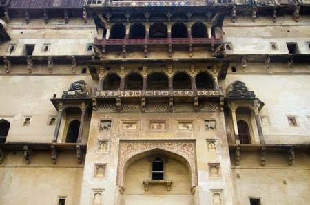 Exterior view of Datia Palace. Also known as Bir Singh Palace or Bir Singh Dev Palace. Datia. Madhya Pradesh Stock Photo - 121452788