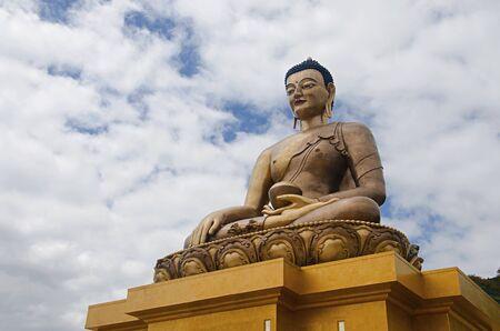 Giant Buddha Dordenma statue. Shakyamuni Buddha statue under construction in the mountains. Thimphu. Bhutan
