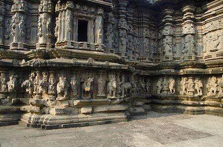 Beautifully carved exterior view of Kopeshwar Temple, Khidrapur, Maharashtra, India Stock Photo