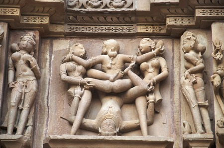 KANDARIYA MAHADEV TEMPLE, South Wall - Lower Panel - Mithuna Couple, Western Group, Khajuraho, Madhya Pradesh, India