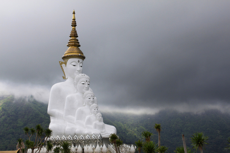 It represents five traditional Buddha who visited the earth. The Buddhas are nested together in the meditation pose, looking out over the valley. Each one is slightly larger than one before