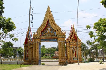 Golden gate to a Buddhist temple and monastery at Ban Bung Sam Phan Nok, Phetchabun, Thailand