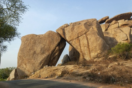 Stone Arc made of two huge boulders at Hampi, Karnataka, India Stock Photo
