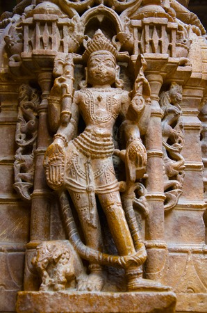 Beautifully carved idols, Jain Temple, situated in the fort complex, Jaisalmer, Rajasthan, India Banco de Imagens