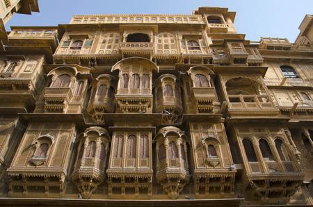 Decorative outer view of Patwon Ki Haveli, Jaisalmer, Rajasthan, India