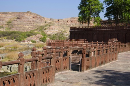 Compound wall of the Jaswant Thada, is a cenotaph, Jodhpur, Rajasthan, India