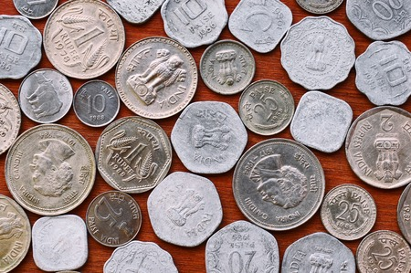 Top view of old Indian coins collection