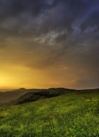 Magical golden light, Kas Pathar, Satara, Maharashtra state of India Stock Photo